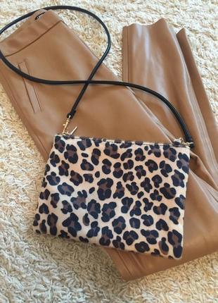 Трендова маленька сумочка, клатч через плече, леопард