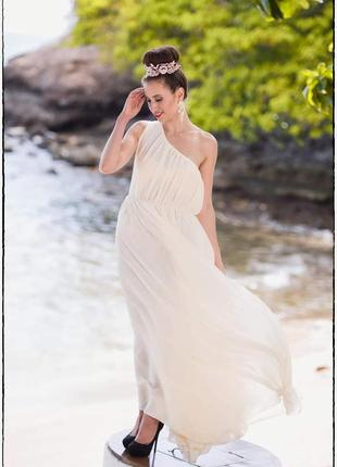 Изящное новое вечернее платье для росписи,длинное цвет айвори/слоновая кость,свадебное