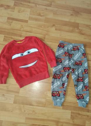 Теплая махровая пижама на мальчика  3-5лет