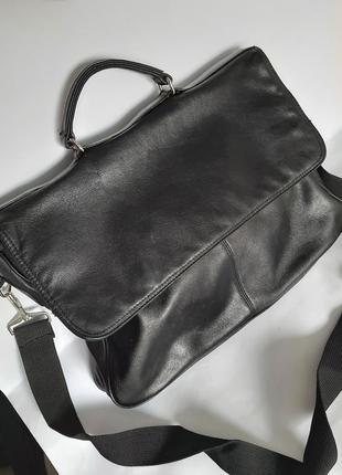 Мужская кожаная сумка мессенджер портфель черная через плечо