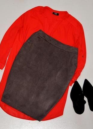 Next красивая юбка карандаш серого цвета с карманами,под замш
