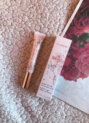 Блеск для губ полупрозрачный розовый с блестками clarins instant light lip perfector 15