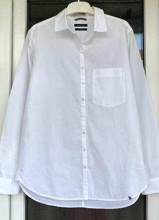 Marc o'polo оригинал базовая белоснежная рубашка свободного кроя хс-с