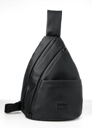 Большая супер черная удобная мужская сумка через плечо/слинг