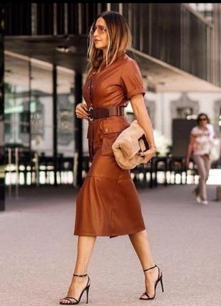 Кожанное платье zara стиль, платье из экокожи, платье рубашка