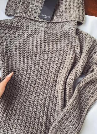 Шикарный теплый свитер туника коричневый с высоком горловиной brave soul 8s