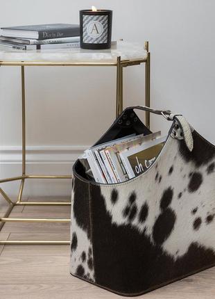 Шикарная корзина для журналов из натуральной кожи и коровьей шкуры