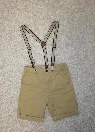 Классные шорты на подтяжках h&m 128 в прекрасном состоянии