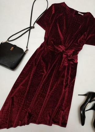 Шикарное велюровое платье винного цвета