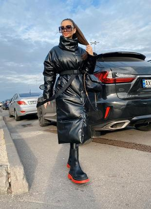 Кожаная длинная куртка пальто пуховик дутик пуффер удлененный эко-кожа