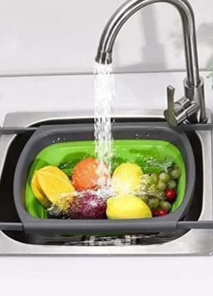 Складной дуршлаг  / корзина в раковину для мытья фруктов и овощей