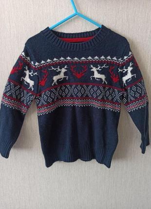 Детский свитер с оленями h&m