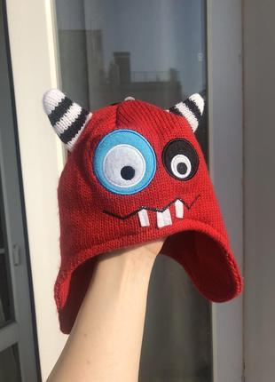 Детская вязаная шапка /дитяча шапочка монстрик 1-3год.