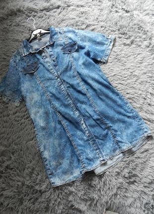 Джинсовое  платье варёнка с заклёпками