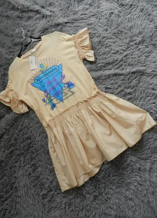 Кокетливое короткое платье хлопок  пышная юбка волан