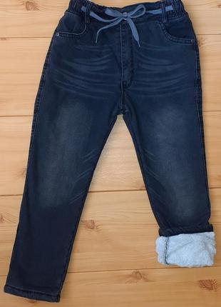 Зимние джинсы на махре для мальчика рр.122-140 beebaby (бибеби)