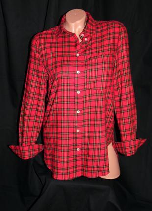 H & m шикарная тёплая рубашка в клетку - m - l