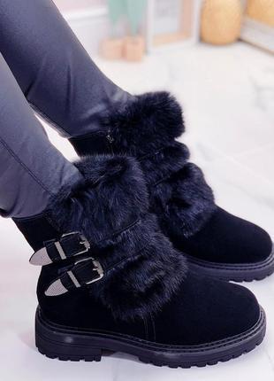 Новые женские зимние замшевые ботинки