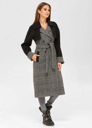 Демисезонное пальто рубашка из ворсовой ткани