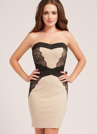 Платье бюстье коктейльное новое кремовое трикотажное от little mistress uk 10 размер 44