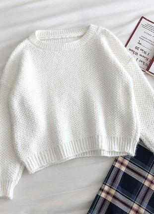 Шерстяной свитер белый голубой розовый