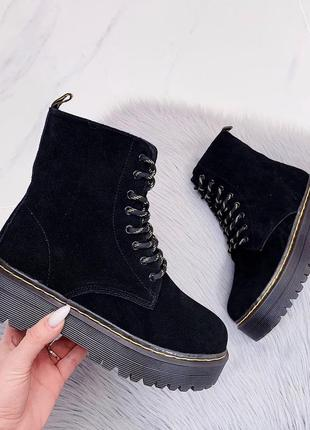 Новые женские зимние замшевые чёрные ботинки