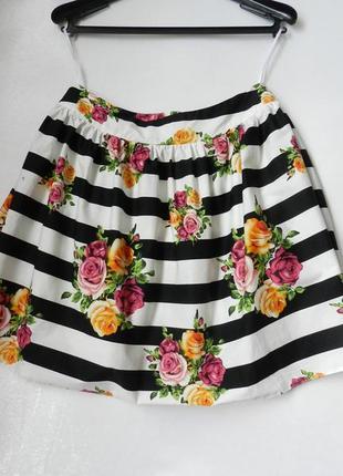 Хлопковая юбка пышная в полоску с цветами