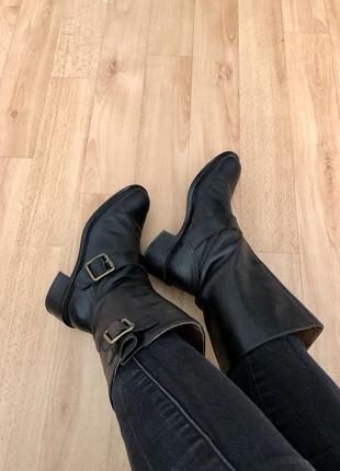 Сапоги сапожки 37 размер натуральная кожа демисезонные осенние ботинки чёрные кожаные
