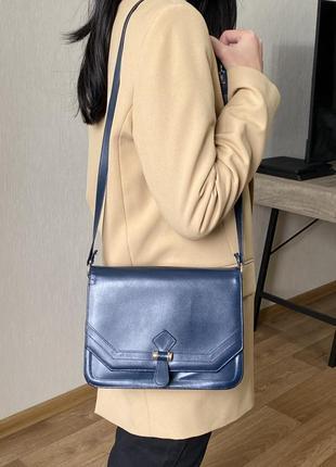 Винтажная кожаная сумка через плечо кроссбоди синяя ретро bally
