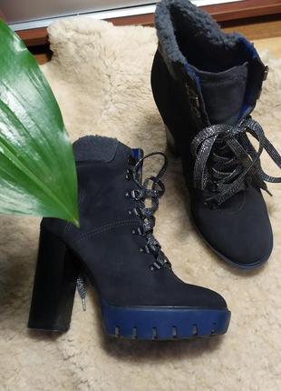 Ботинки серый ботильоны сапоги кожа кожаные зима осень деми еврозима