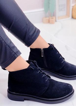 Новые женские замшевые  демисезонные чёрные ботинки