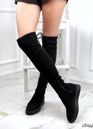 Новые женские демисезонные чёрные сапоги ботфорты