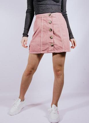 Короткая розовая вельветовая юбка с пуговицами, пудрова спідниця