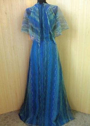 Французское винтажное шёлковое вечернее нарядное длинное платье с воротником в пол3 фото