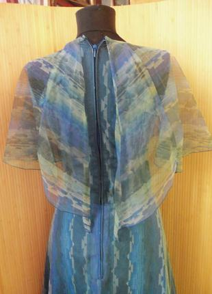Французское винтажное шёлковое вечернее нарядное длинное платье с воротником в пол4 фото