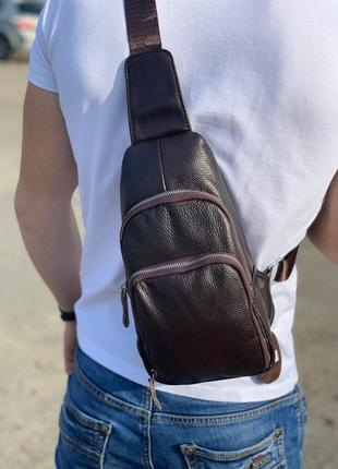 Мужской кожаный мессенджер tiding bag / сумка / барсетка