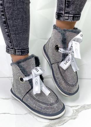 Новые женские зимние замшевые серые  ботинки в стразах