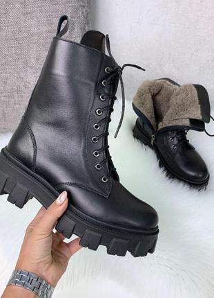 Крутые черные зимние ботиночки из натуральной кожи