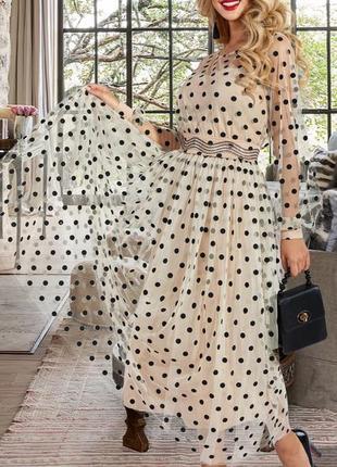 Нарядное платье двойка платье  без бретелей  и нежная сеточка с пышной юбкой в горох