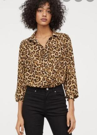Рубашка блуза анимал принт леопард h&m