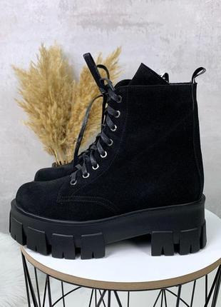 Зимние ботиночки черные натуральная замша