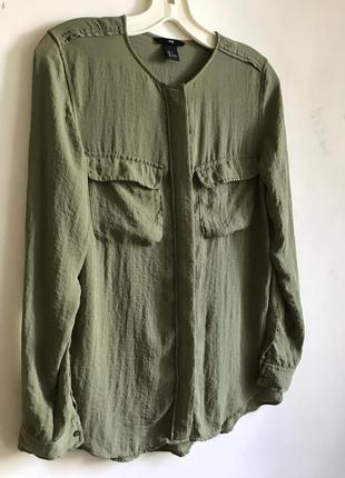 Базовая оливковая рубашка h&m