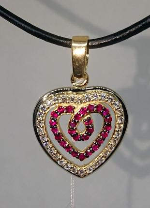 Кулон подвеска сердце рубин бриллиант діамант золото 585 видео