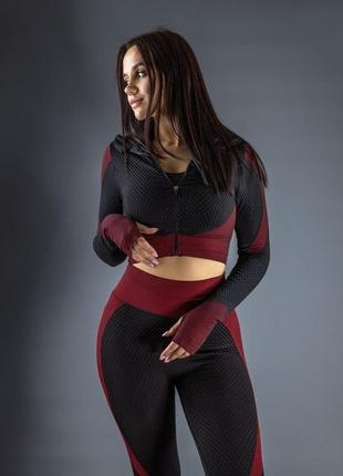 Женский спортивная кофта для фитнеса черный/красный