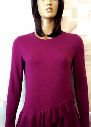 Шикарный джемпер свитер с рюшами винного цвета от isaac mizrahi live