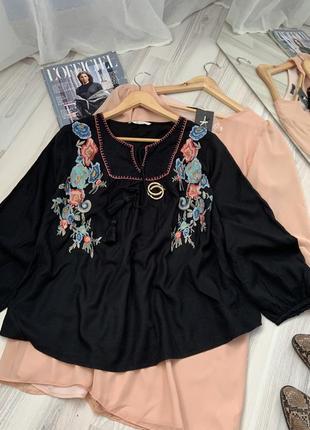 Блуза вышивка свободный фасон