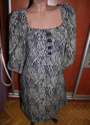 Платье туника черное белое принт