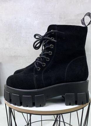 Зимние ботиночки черные замшевые