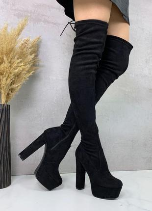 Новые женские демисезонные чёрные замшевые сапоги ботфорты на высоком каблуке