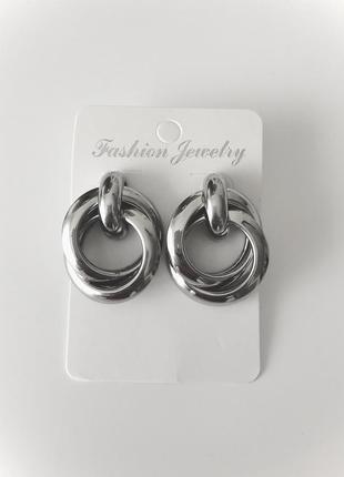 Масивні срібні трендові сережки
